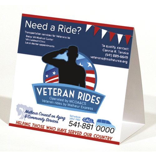 Veteran Rides Table Tent